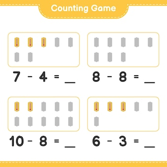 Jeu de comptage, comptez le nombre de thermomètre et écrivez le résultat. jeu éducatif pour enfants, feuille de calcul imprimable