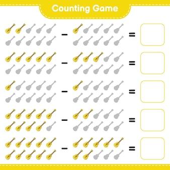 Jeu de comptage comptez le nombre de ukulélé et écrivez le résultat jeu éducatif pour enfants