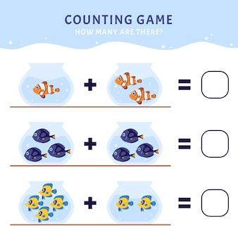 Jeu de comptage avec différents types de poissons