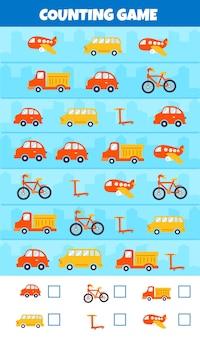Jeu de comptage avec différents types de voitures