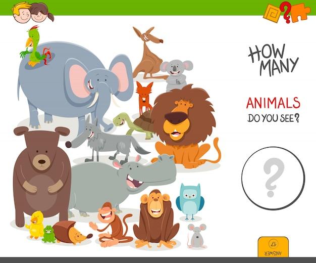 Jeu de comptage éducatif avec des personnages animaliers