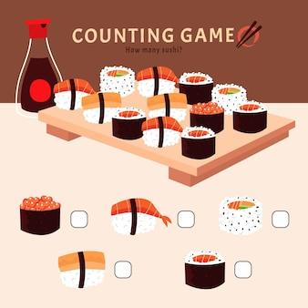 Jeu de comptage avec illustrations de sushis