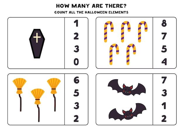 Jeu de comptage avec des images d'halloween. feuille de calcul mathématique.