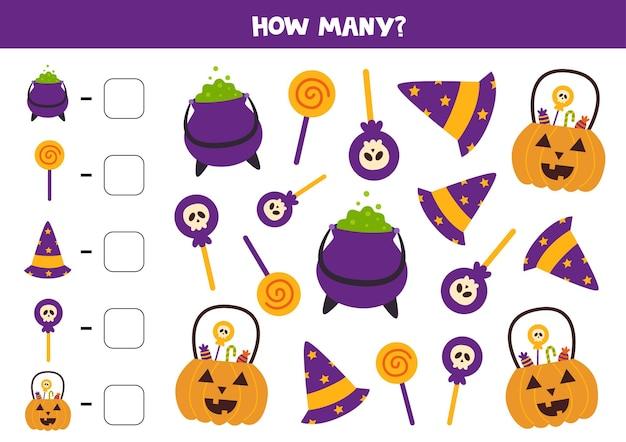 Jeu de comptage avec de jolies images d'halloween. feuille de calcul mathématique.