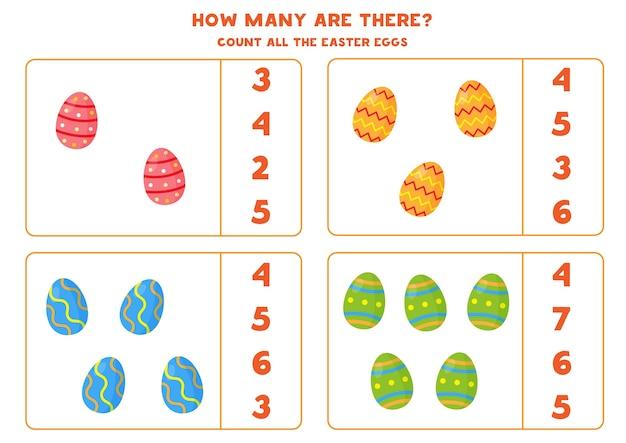 Jeu de comptage avec des oeufs de pâques de dessin animé. feuille de calcul mathématique.