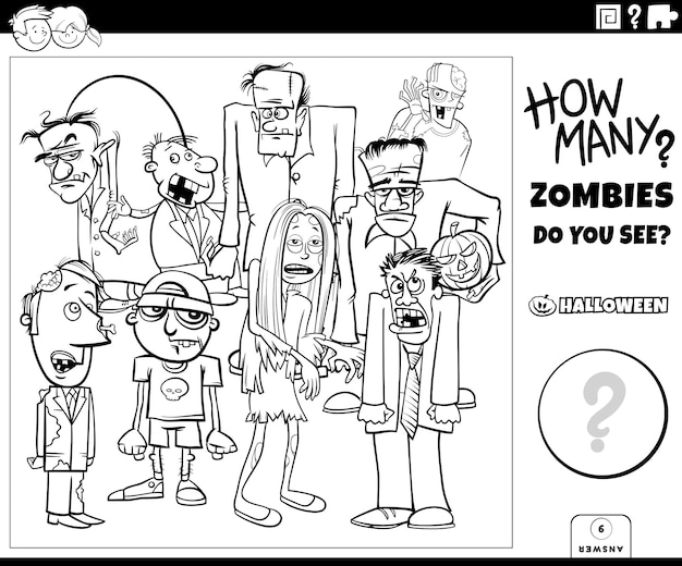 Jeu de comptage avec des personnages de dessins animés zombies page de livre de coloriage
