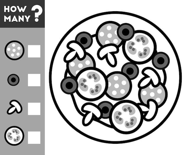 Jeu de comptage pour les enfants d'âge préscolaire comptez le nombre de pizzas et écrivez le résultat