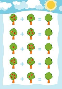 Jeu de comptage pour les enfants d'âge préscolaire comptez les pommes sur l'image et écrivez le résultat