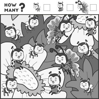 Jeu de comptage pour les enfants d'âge préscolaire. éducatif un jeu mathématique. comptez combien d'éléments et écrivez le résultat ! insectes et fleurs