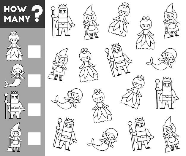 Jeu de comptage pour les enfants d'âge préscolaire. éducatif un jeu mathématique. comptez combien de personnages de contes de fées et écrivez le résultat !