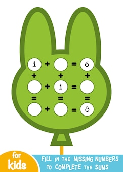 Jeu de comptage pour les enfants d'âge préscolaire. éducatif un jeu mathématique. comptez les nombres dans l'image et écrivez le résultat. addition de feuilles de calcul avec bulle
