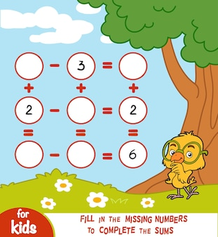 Jeu de comptage pour les enfants d'âge préscolaire. éducatif un jeu mathématique. comptez les nombres dans l'image et écrivez le résultat. feuilles de calcul d'addition et de soustraction sur un fond d'été