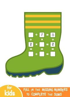 Jeu de comptage pour les enfants d'âge préscolaire. éducatif un jeu mathématique. comptez les nombres dans l'image et écrivez le résultat. fiches de multiplication et de division avec une botte