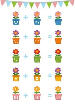 Jeu de comptage pour les enfants d'âge préscolaire éducatif un jeu mathématique fleur
