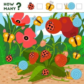 Jeu de comptage pour les enfants d'âge préscolaire éducatif un jeu mathématique insectes et arrière-plan