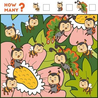 Jeu de comptage pour les enfants d'âge préscolaire éducatif un jeu mathématique insectes et fleurs