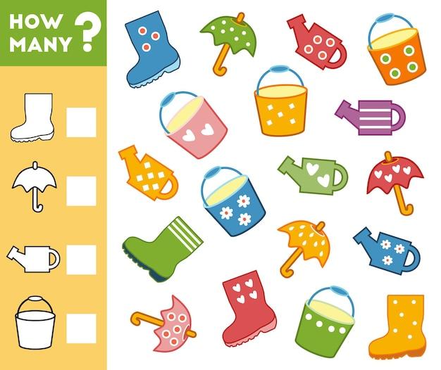 Jeu de comptage pour les enfants d'âge préscolaire éducatif un jeu mathématique objets de jardin
