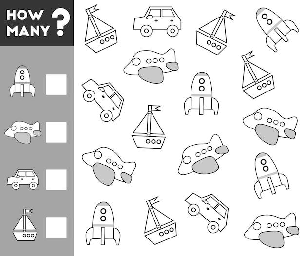 Jeu de comptage pour les enfants d'âge préscolaire éducatif un jeu mathématique ransport objets