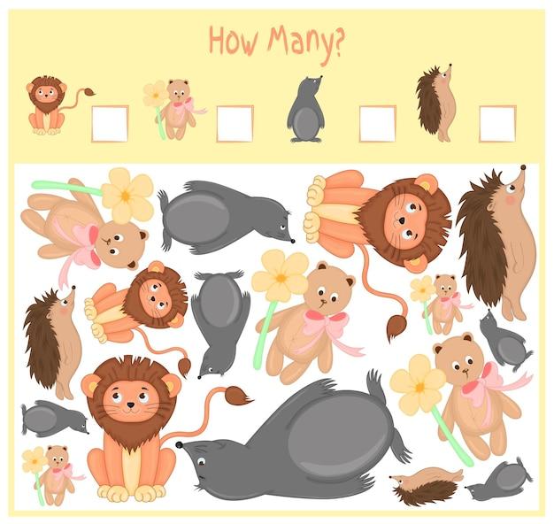 Jeu de comptage pour les enfants d'âge préscolaire. un jeu éducatif mathématique. comptez le nombre d'éléments et écrivez le résultat. animaux sauvages et domestiques. la nature.