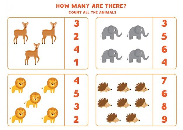 Jeu de comptage pour les enfants. combien d'animaux sauvages y a-t-il.