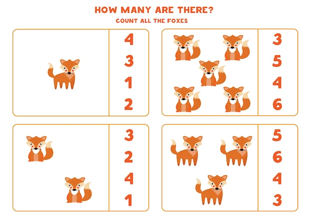 Jeu de comptage pour enfants comptez tous les renards mignons feuille de travail pour les enfants