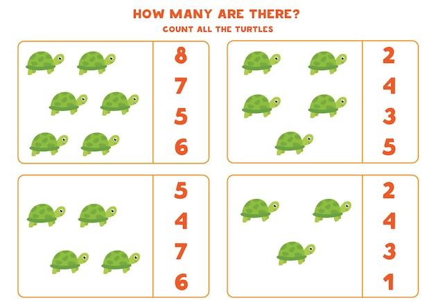 Jeu de comptage pour les enfants. comptez toutes les tortues. feuille de travail pour les enfants.