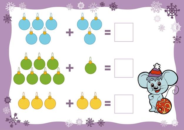 Jeu de comptage pour les enfants feuilles de calcul sur les additions jouets de noël éducatif un jeu mathématique