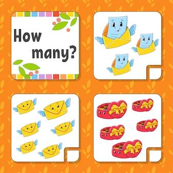 Jeu de comptage pour les enfants. personnages heureux. apprendre les mathématiques. combien d'objets dans l'image.