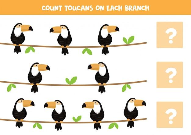 Jeu de comptage pour les enfants avec des toucans de dessin animé sur une branche.
