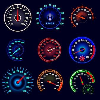 Jeu de compteurs de vitesse de voiture
