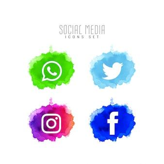 Jeu de conception abstraite d'icônes de médias sociaux décoratifs