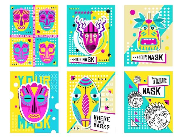 Jeu de conception de cartes de voeux de masques tribaux. décoration traditionnelle, souvenir en illustration vectorielle de style boho avec des échantillons de texte