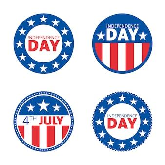 Jeu de conception d'étiquette fête de l'indépendance américaine