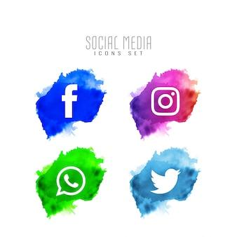 Jeu de conception d'icônes de médias sociaux modernes