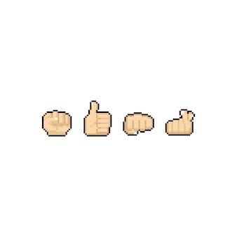 Jeu de conception d'icônes de pixel art main gauche.
