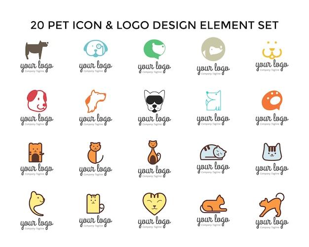 Jeu de conception de logo icône animaux de compagnie