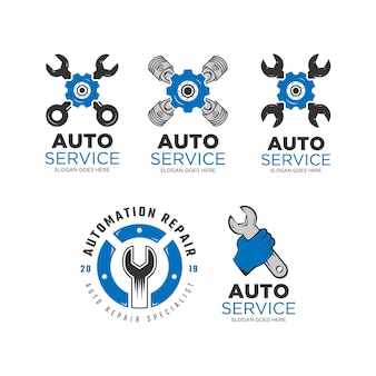 Jeu de conception de logo de service automatique