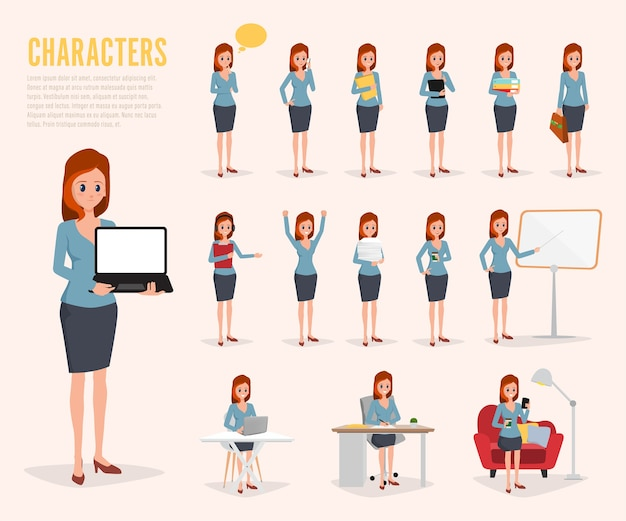 Jeu de conception de personnage de travail de femme d'affaires