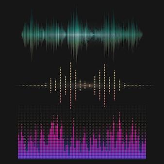 Jeu de conception de vecteur égaliseur coloré onde sonore