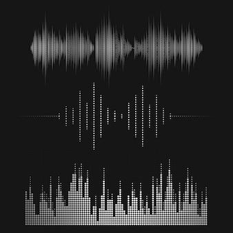 Jeu de conception de vecteur égaliseur onde sonore