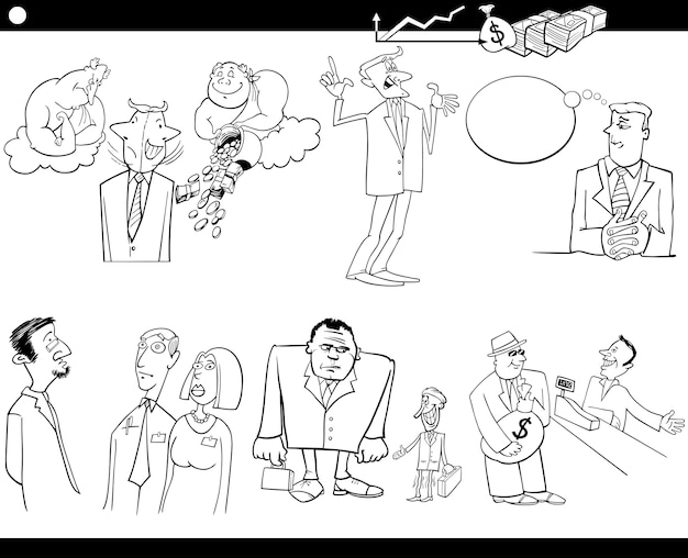 Jeu de concepts de dessin animé d'affaires