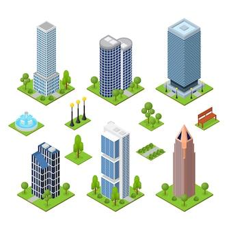 Jeu de construction gratte-ciel vue isométrique
