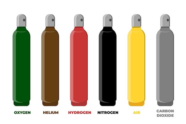 Jeu de couleurs d'identification des bouteilles de stockage de gaz comprimé.
