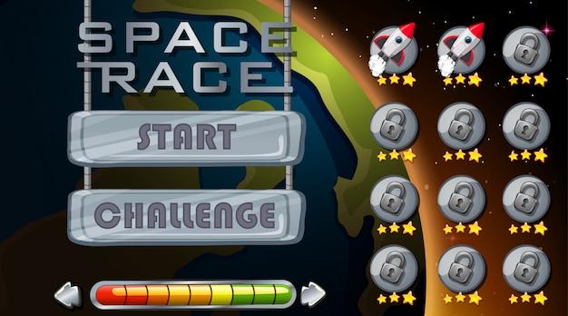 Jeu de course dans l'espace