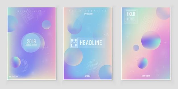 Jeu de couverture holographique moderne futuriste