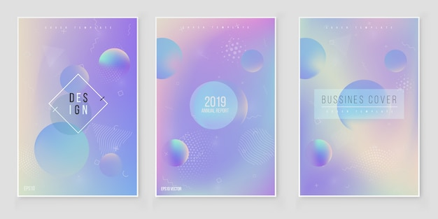 Jeu de couvertures holographiques irisées abstraites. tendances des styles modernes des années 80/90. vecteur de feuille holographique