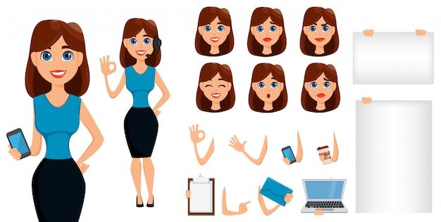 Jeu de création de personnage de dessin animé femme affaires