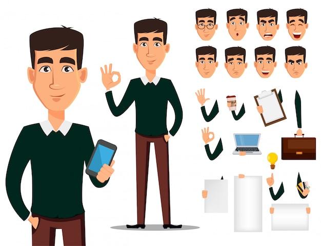 Jeu de création de personnage de dessin animé homme affaires.
