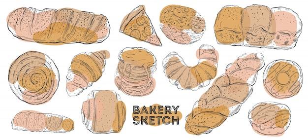 Jeu de croquis de boulangerie. cuisine de dessin à la main. tous les éléments sont isolés en blanc.
