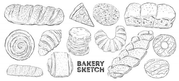 Jeu de croquis de boulangerie. cuisine de dessin à la main.